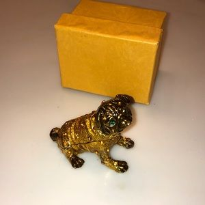 NEW Pug Puppy Gold Jewelry Holder Box Figurine